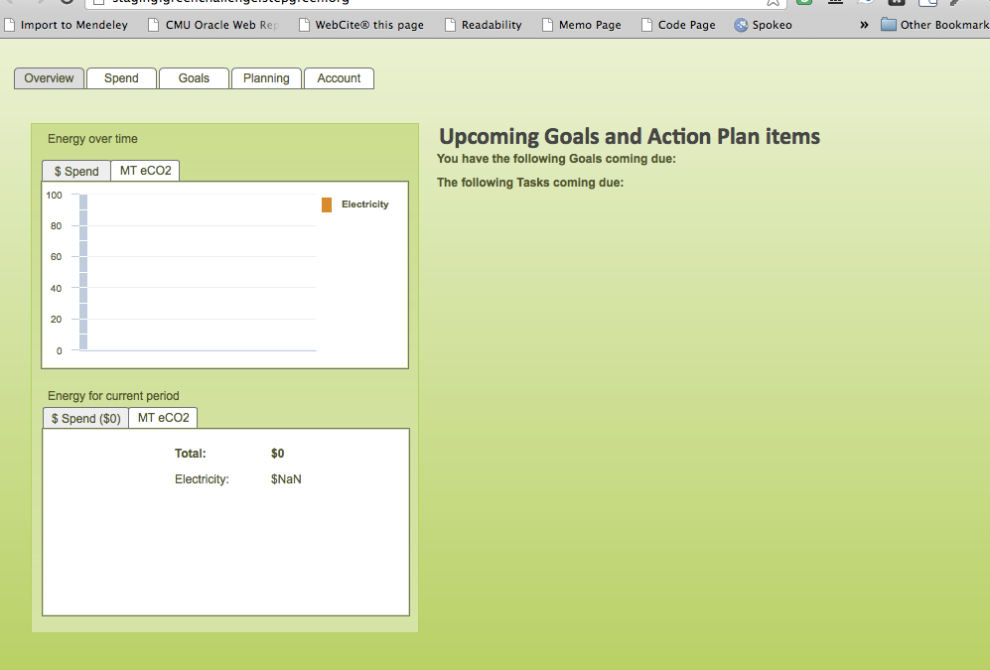 A picture of the interface to the green challenge planning and tracking software