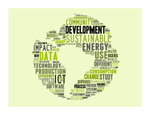 A word cloud highlighting popular topics at ICT4S including development, energy, sustainability, data, impact, and more.